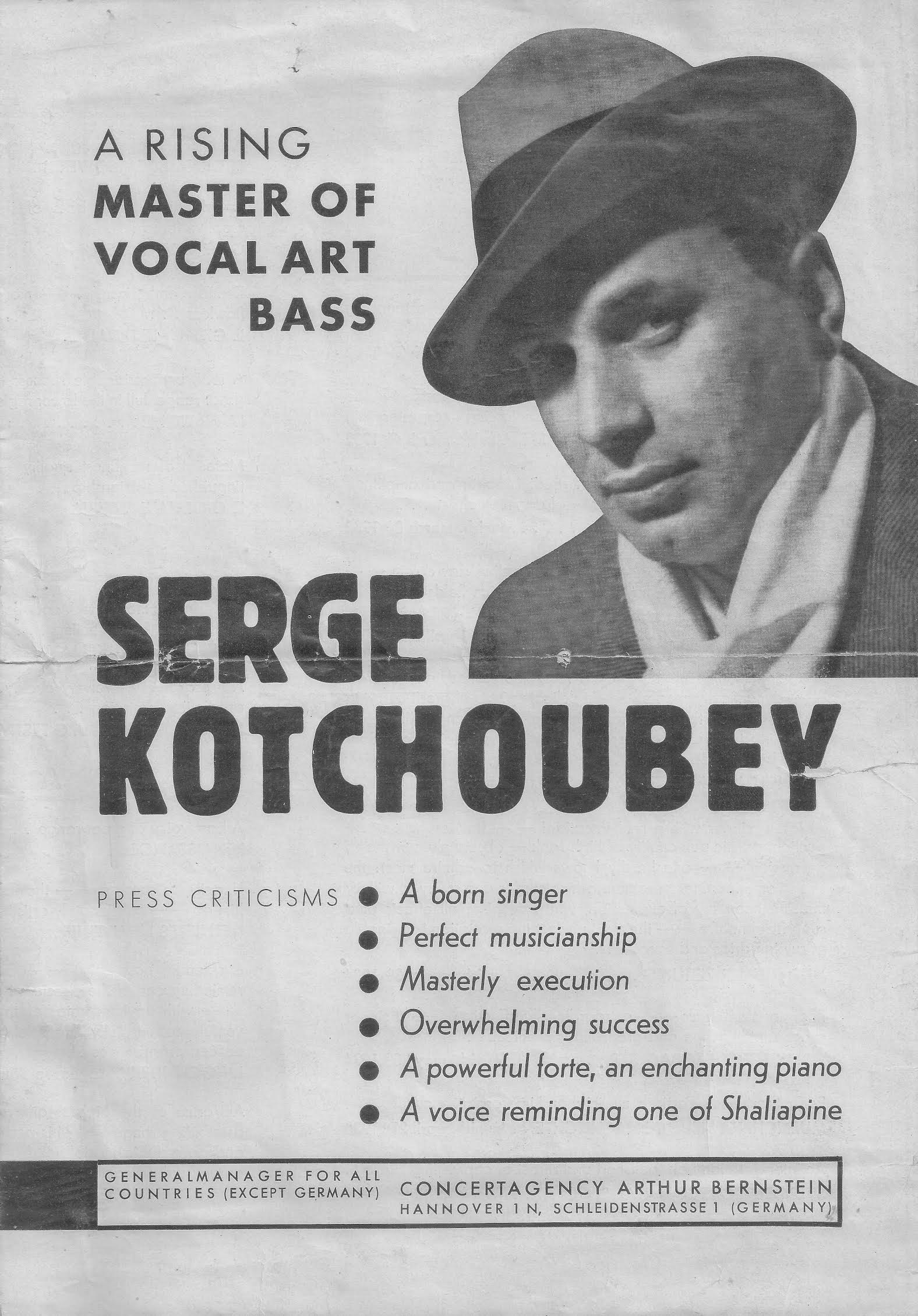 Prmotional Advertisement for Serge Kotchoubey (1930s)