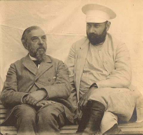 Alexander Alexeivitch Rakhamnov with his stepson Mikhail Nikoalivitch Kotchoubey 1900s