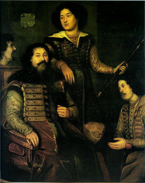 Group portrait of Prince Pyotr Semionovitch Prozorovsky and the Russian delegation to England. Atrributed to an unknown English artist and painted in 1662. According to one source the other men in the picture are Ivan Davydov, Ivan Agansievitch Zheliabuzhki and Andrei Forot (the translator). de Koehne ncorrectly states Prozorovsky's patronymic and the fact that he is painted with his sons (author's note)